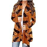 Halloween Lightweight Summer Cardigan for Women Cat Pumpkin Print Long Sleeve Soft Oversized Open Front Autumn Coat Blouse