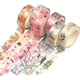 YUBBAEX Floral Gold Washi Tape Set VSCO Foil Masking Tape Decorative for Arts, DIY Crafts, Bullet Journal Supplies, Planners,