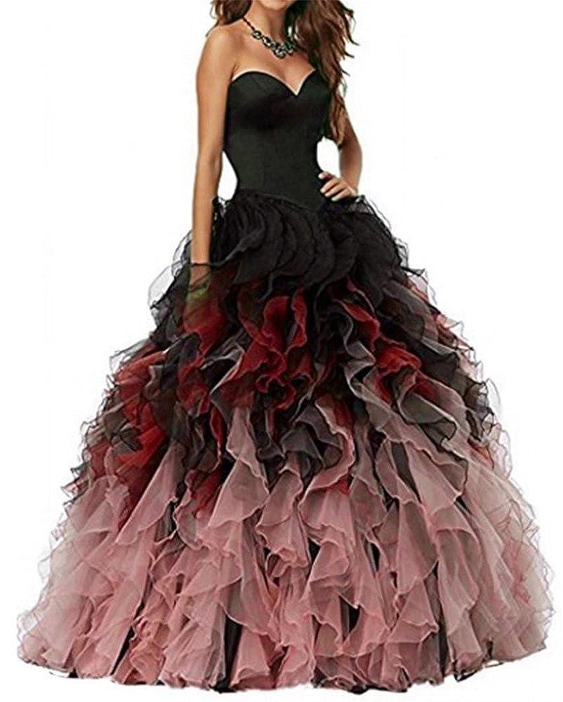 Black&red Honeydress Women's Sweetheart Ombre Ruffles Long Quinceanera Dress Ball Gown