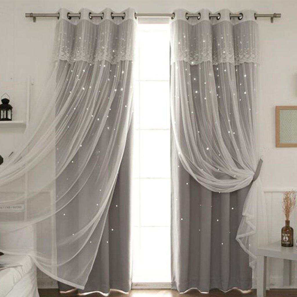 Nclon Prinzessin Vorhänge gardinen,Europäische Licht Blockiert Reine Farbe Sterne Wohnzimmer Schlafzimmer Spitze Voile Vorhänge gardinen-grau 1 Panel W250cmD260cm
