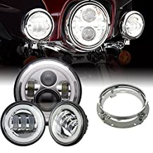 """TURBO SII 7 Inch Chrome Motorcycle Daymaker Led Headlights White Halo Angel Eye&DRL Mounting Bracket Ring+2pcs 4.5""""Inch Led Fog Lights Halo Ring DRL For Harley Davidson LED Passing Lights Driving Lamp"""