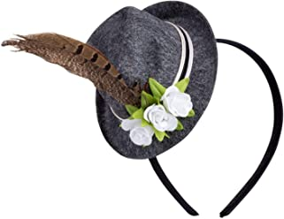 SIX Haarreifen, Haarschmuck, Oktoberfest, Dekohut, Feder, Blume, Blüte, grau, braun, grün, weiss (315-731)