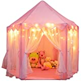 Orian Princess Castle Playhouse Tent for Girls with LED Star Lights – Indoor & Outdoor Large Kids Play Tent for Imaginative G