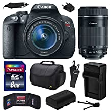 Canon EOS Rebel T5i (700D) Digital SLR with 18-55mm STM and EF-S 55-250mm f/4-5.6 IS STM Lens includes 8GB Memory + Large Case + Extra Battery + Travel Charger + Memory Card Wallet + Cleaning Kit (8GB Value Bundle) 8595B003