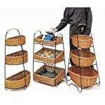 """3 Tier Merchandising Stand With Rattan Baskets Oval - 22""""L x 15""""D x 42""""H"""