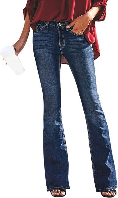 Hx Fashion Pantalones Vaqueros Acampanados Pantalones Para Mujer Acampanados Acampanados Pantalones Tamanos Comodos Pitillo Ajustados De Cintura Alta Elasticos De Moda Amazon Es Ropa Y Accesorios