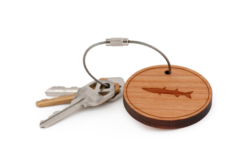 Barracuda Keychain, Wood Twist Cable Keychain - Large WoodenAccessoriesCo