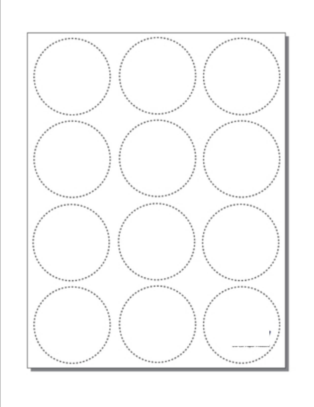 Print-Ready 2-1/4'' Diameter Circle-Perforated Button Blanks, 12-UP on 8-1/2'' x 11'' White 24lb Bond Paper - 100 Sheets / 1200 Buttons