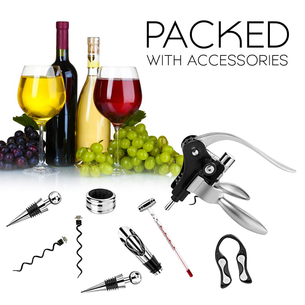 Vintage Collection Lever Wine Opener & Foil Cutter and 9 Piece Accessories Set, Open Wine With Ease Like a Pro, Everything You'll Ever Need in a Deluxe Wooden Box – Great Wine Lovers Gift for Any Occa by Vintage Collection (Image #7)