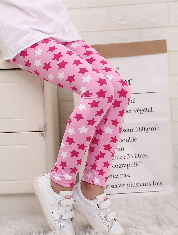 Adorel Kids Girls Stretch Leggings Printed Pants Pack of 3