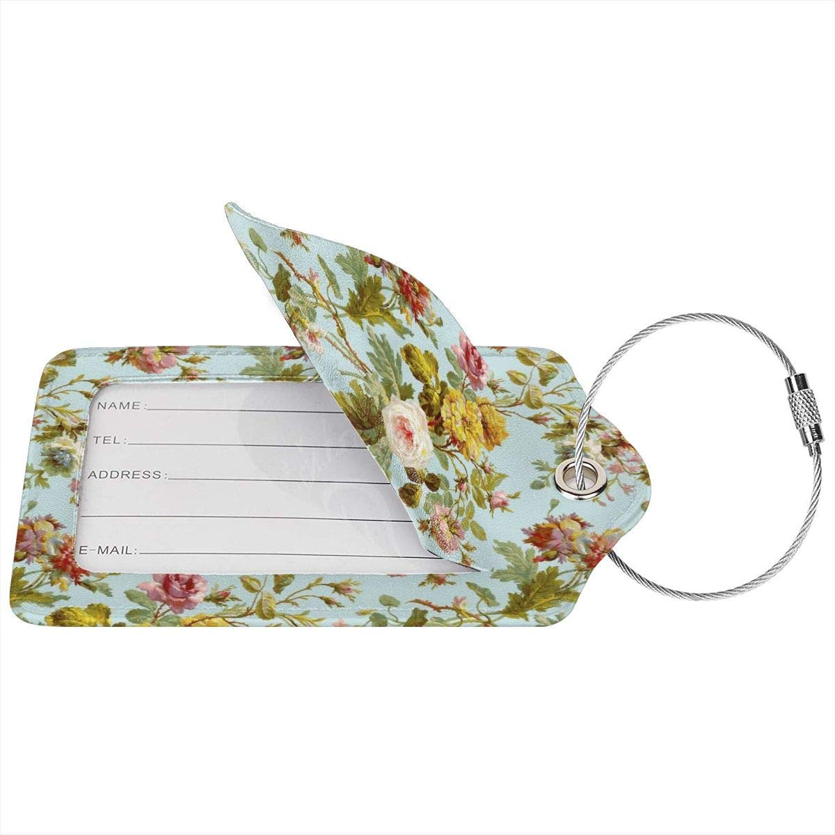 Vintage Floral Pattern Luggage Tag Label Travel Bag Label With Privacy Cover Luggage Tag Leather Personalized Suitcase Tag Travel Accessories