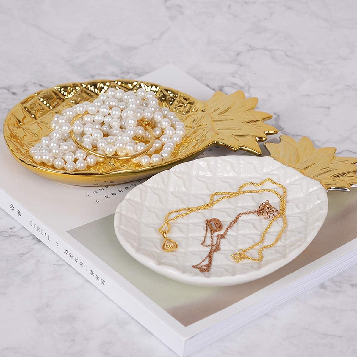 TOPBATHY Plateau de rangement en forme dananas du plateau de rangement de bijoux en c/éramique pour la pr/ésentation du bracelet du collier de lanneau Blanc