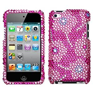Hard Plastic Snap on Cover Fits Apple iPod Touch 4 (4th Generation) Candy Flowers Full Diamond/Rhinestone (Please carefully check your device model to order the correct version.)