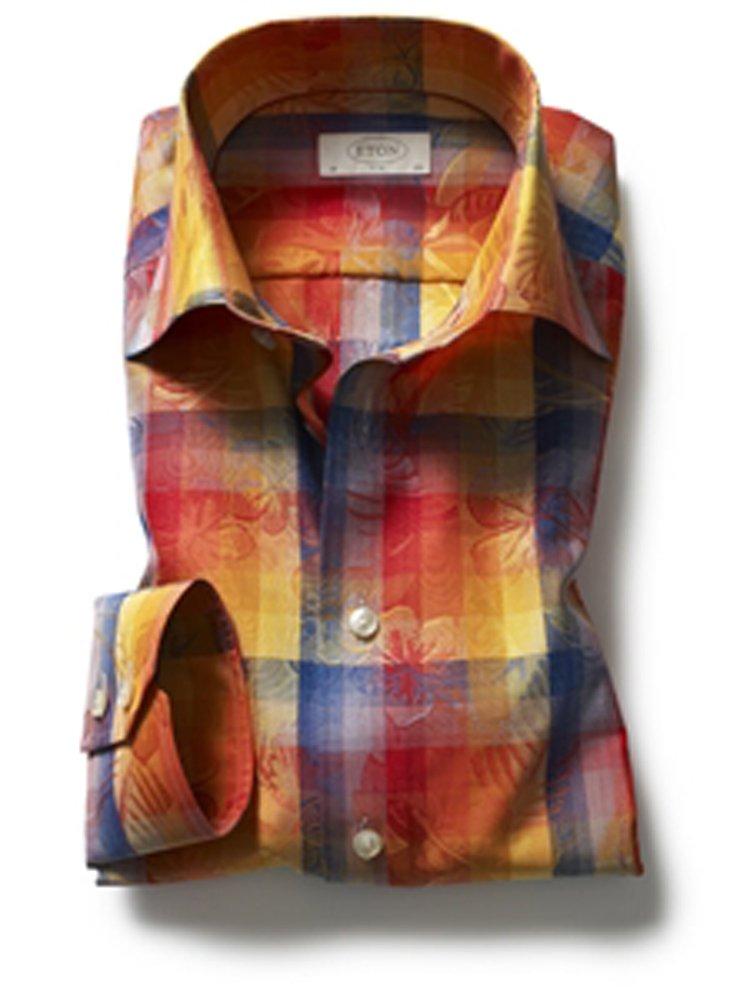 Eton of Sweden Multi-Color Checked Flower Jacquard Shirt 15.75