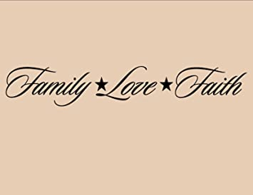 FAMILY LOVE FAITH Vinyl Wall Quotes Stickers Sayings Home Art Decor Decal