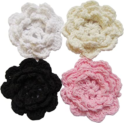 Crochet Pink Double Matching Set set of 2 Crochet appliques Springr decors Craft supply Crocheted 100 /% cotton Free Shipping