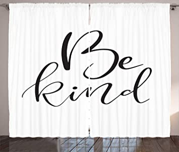 amazon lunarable quote curtains brush pen lettering artistic Big Curtains lunarable quote curtains brush pen lettering artistic calligraphy monochrome be kind saying illustration living