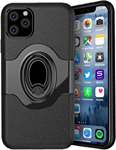 iPhone 11 Case,Hybrid Dual Layer 360 Degree Rotation Ring Grip Stand Holder [Work with Magnetic Car Mount] Protective Cover for Apple iPhone 11,Black