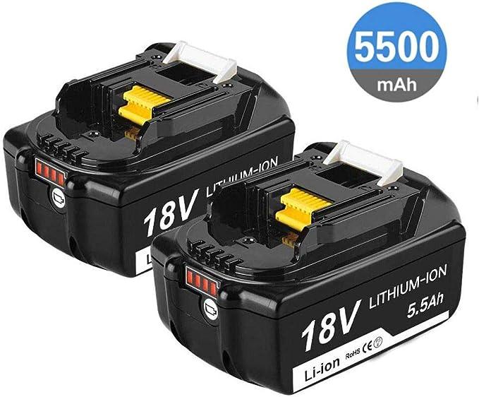Imagen deReoben 2X de BL1860B 18V5.5AH Batería de iones de litio Reemplazo para Makita BL1860B BL1850B BL1840B BL1830B BL1860 BL1850 BL1840 BL1830 LXT-400