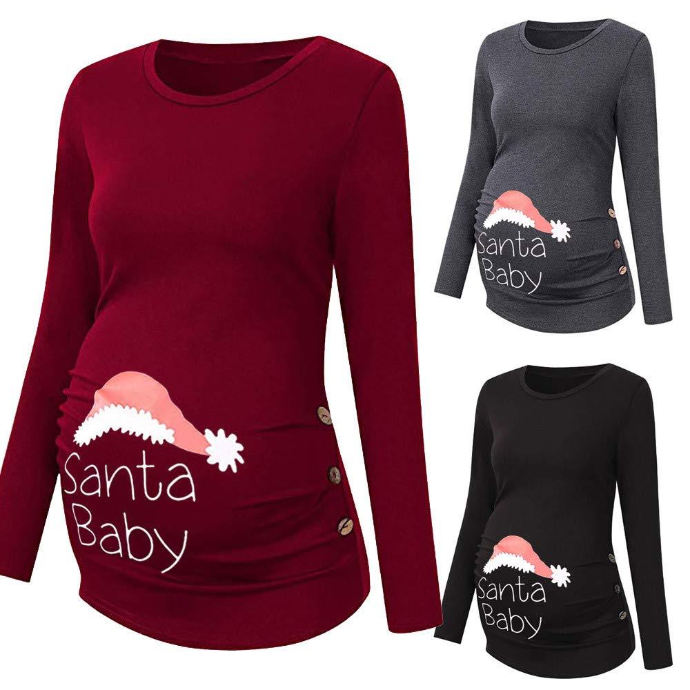 Solike Umstandsmode Damen Winter HerbstMutterschafts Rundhals T-Shirt Weihnachten Drucken Langarmshirt Schwangerschaftsshirt Hemdblusen Kleidung Umstandshirt Bluse Oberteile