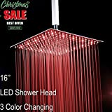 Fyeer 16'' Square LED Fixed Rainfall Shower Head Ultra-thin Ceiling Mounted, 3-LAYER Luxury Bathroom Showerheads Mirror Chrome Polished 304 Stainless Steel, Temperature Sensor 3 Colors Changing