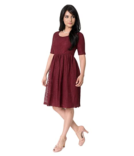 7ae18aa7e121 Image Unavailable. Image not available for. Color  Unique Vintage Burgundy  Floral Lace Emery Sleeved Swing Dress