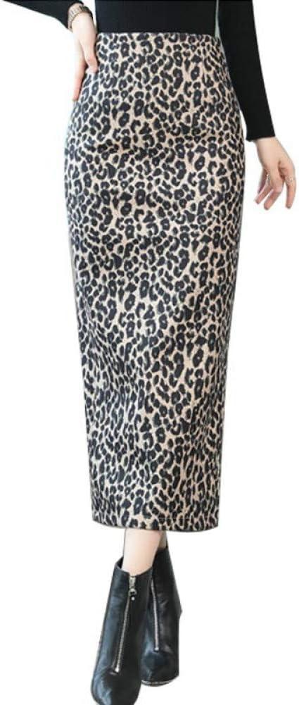 DAHDXD Invierno High Street Leopard Mujeres Falda Larga Slim Fit ...
