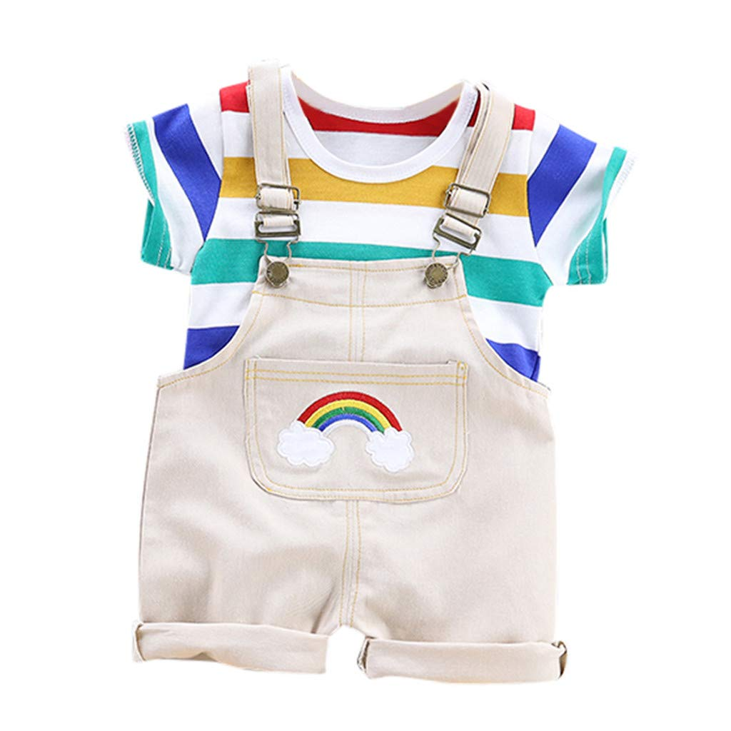 Boys Outfits Set,Zerototens Toddler Kids Clothes Set Rainbow Stripe Crewneck Short Sleeve T-Shirt Tops Straps Overall Jeans Set Summer Children Dungarees Set