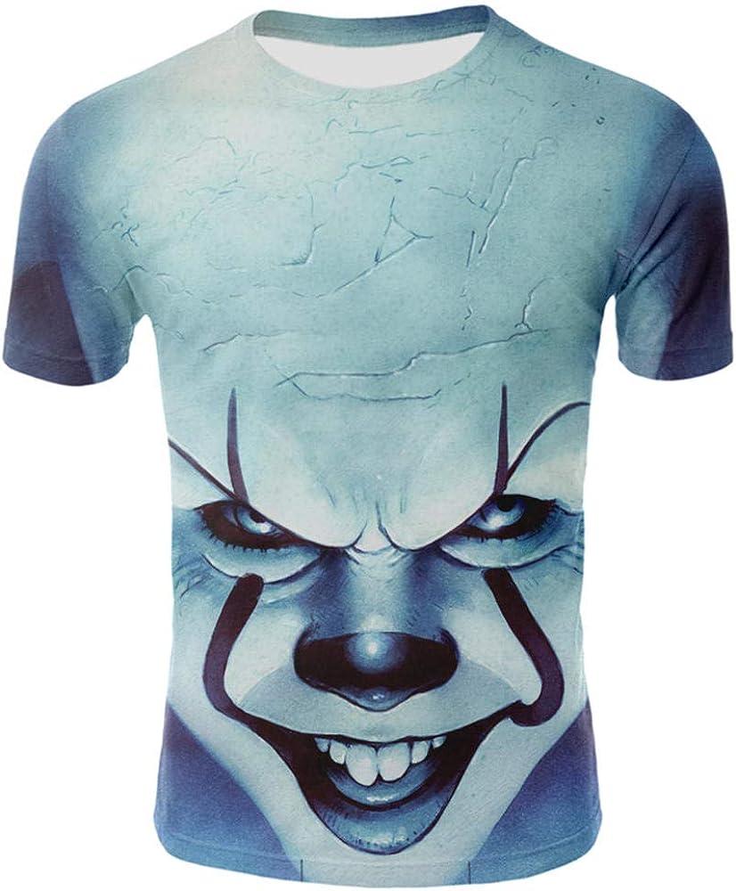 Estate Clown Film Horror Maglietta Casual Maglietta Horror Maglietta Tops hengGuKeJiYo Maglietta Stampata in 3D Uomo Donna