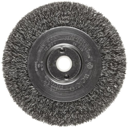 Weiler Trulock Narrow Face Wire Wheel Brush, Round Hole, Steel, Crimped Wire, 4