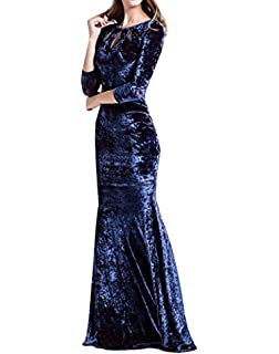 Mujeres elegante terciopelo 3/4 manga Bodycon Clubwear fiesta de noche vestido de fiesta swing