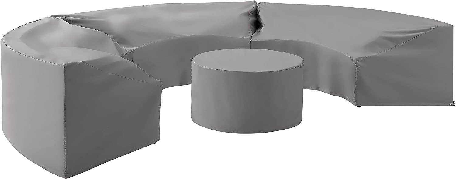 Crosley Furniture MO75016-GY Heavy-Gauge Reinforced Vinyl 4-Piece Catalina Cover Set (3 Round Sofas and Coffee Table), Gray