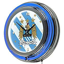 Trademark Gameroom Premier League Manchester City Chrome Double Rung Neon Clock