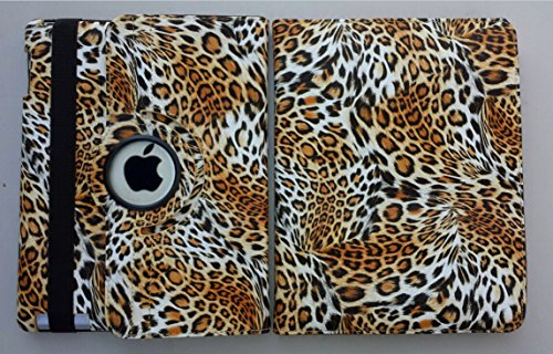 Ipad Case 360 Degrees Rotating Stand Leather Magnetic Smart Cover Case for Ipad 2/ 3/4 Generation Case with Bonus Screen Protector, Stylus and Cleaning Cloth ( Leopard Design-Brown)