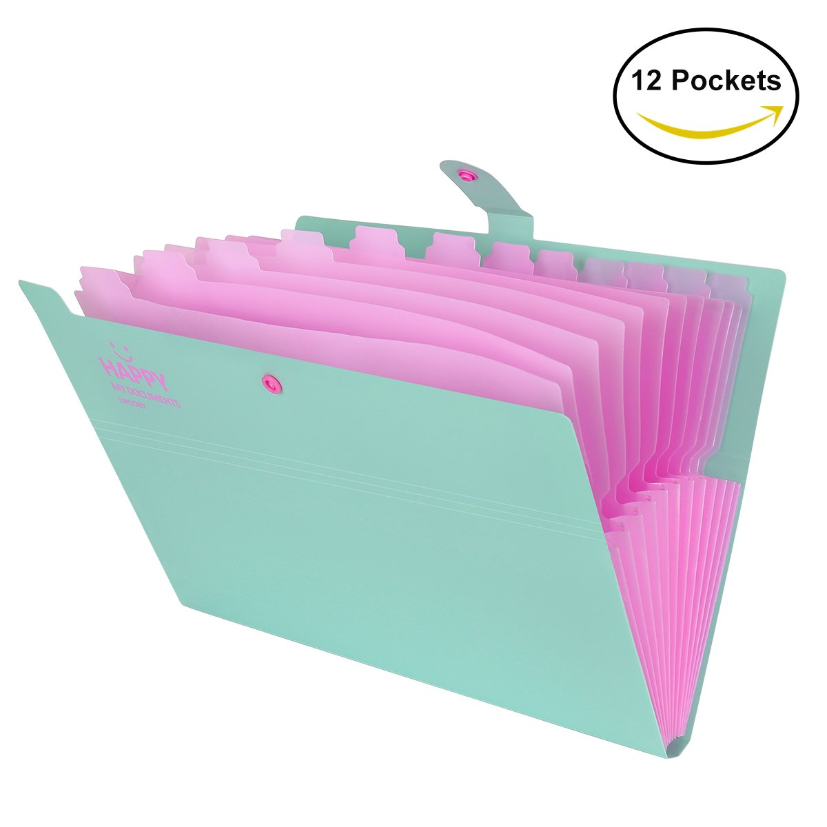 Expanding File Folder 12 Pockets with Snap Closure, Yigou Portable Accordion Document Organizer Letter A4 Paper Size [Green]