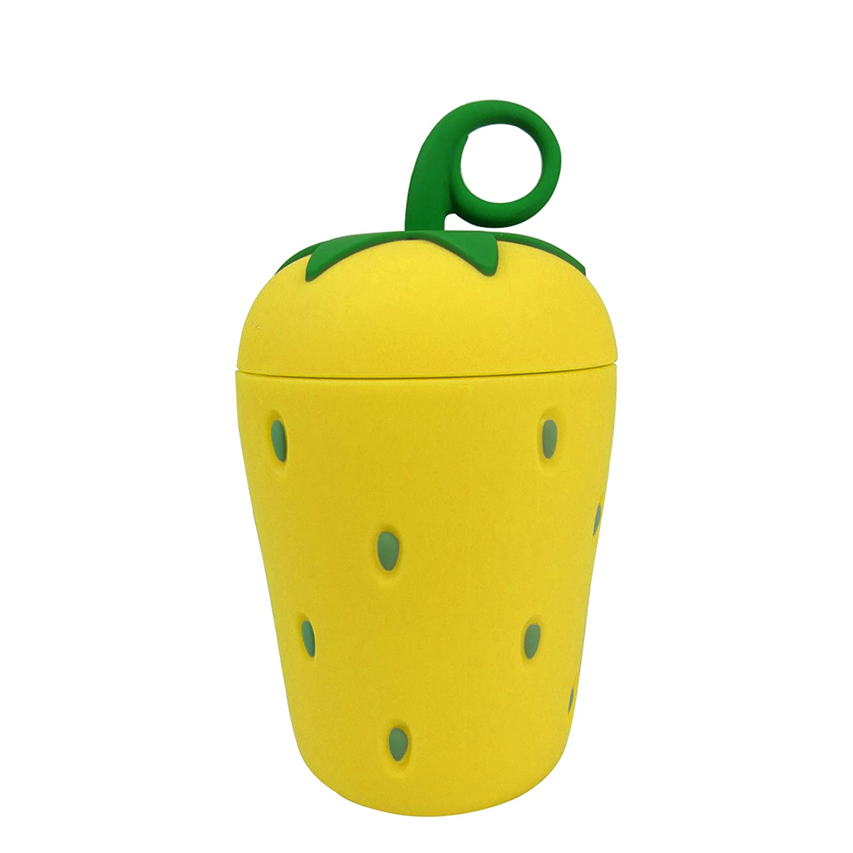 emartbuy 300 ml Glas Wasserflasche Nett Cool Tierdesigner Kinder Erdbeere Gelb