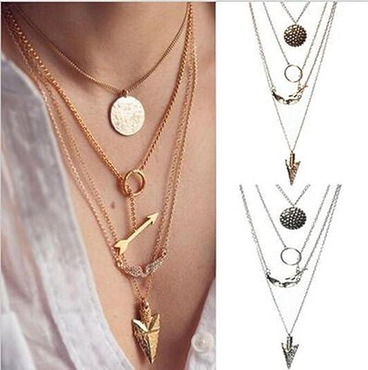 Collar Llamativo de Cadena de Oro de Cristal Irregular de Múltiples Capas Mujeres ESAILQ: Amazon.es: Joyería