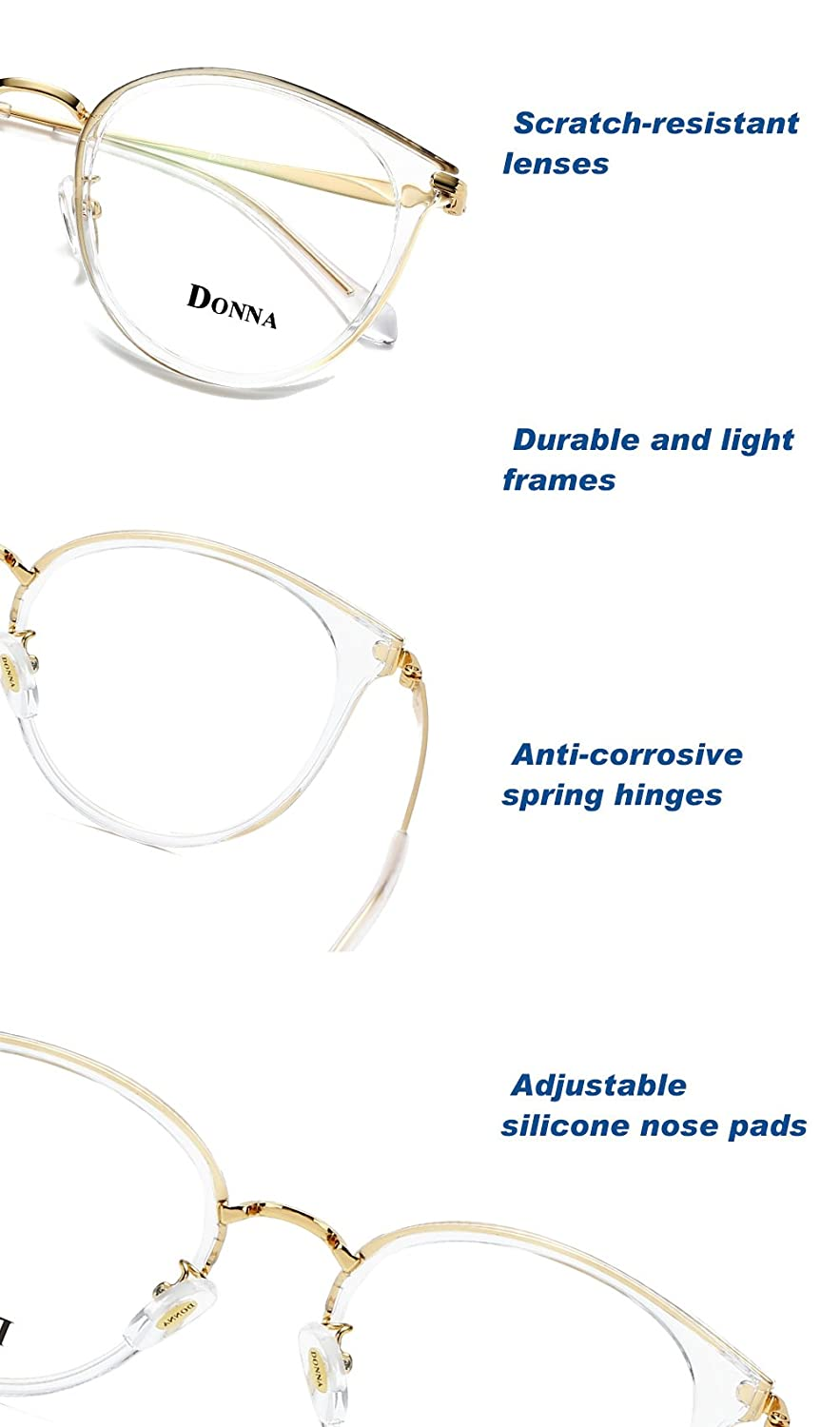 Donna Vintage Fashion Eyeglass Round Frame Unisex Computer Reading Glasses DN48