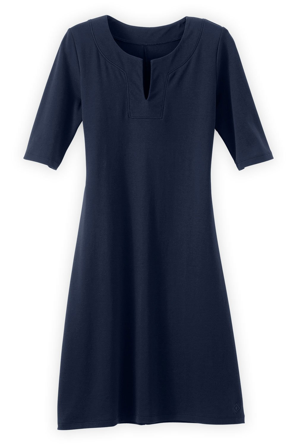Fair Indigo Fair Trade Organic Split Neck Dress (M, Midnight Navy) by Fair Indigo