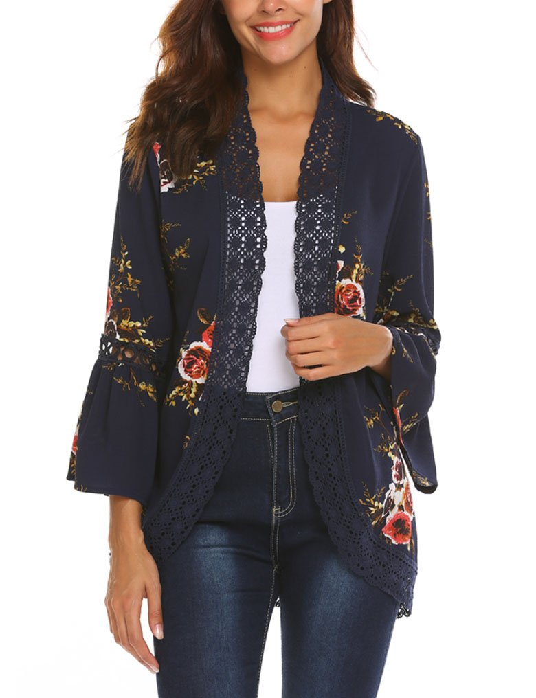 Womens Floral Loose Bell Sleeve Kimono Cardigan Lace Patchwork Cover up Blouse Top (M, Navy Blue)