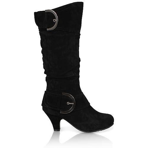 Botas de invierno para mujer de medio tacón y piel de becerro, con cremallera, a la altura de la rodilla: Amazon.es: Zapatos y complementos