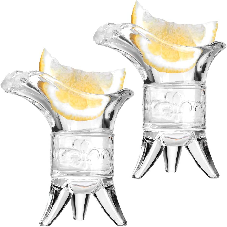 Soju Shot Glasses, HOMEYUT 1oz Unique Shot Glasses Set of 2/Special Tequila Glasses/Port Glasses