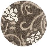 Cheap Safavieh Florida Shag Collection SG464-7913 Smoke and Beige Round Area Rug (8′ Diameter)