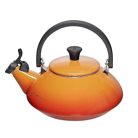 Le Creuset Enamel On Steel 1.6 Qt. Zen Tea Kettle Color, Flame Orange