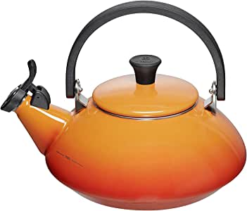 Le Creuset Zen Stove-Top Kettle with Whistle, Suitable for All Hob Types Including Induction and Cast Iron, Enamelled Steel, Capacity: 1.5 L, Volcanic, 92009600090000