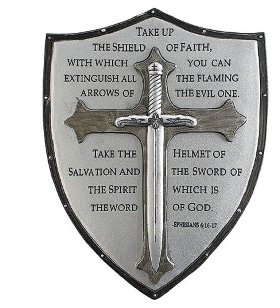Decorative Armor of God Ephesians 6:16-17 6.5 inch Resin Stone Decorative Hanging Wall Plaque