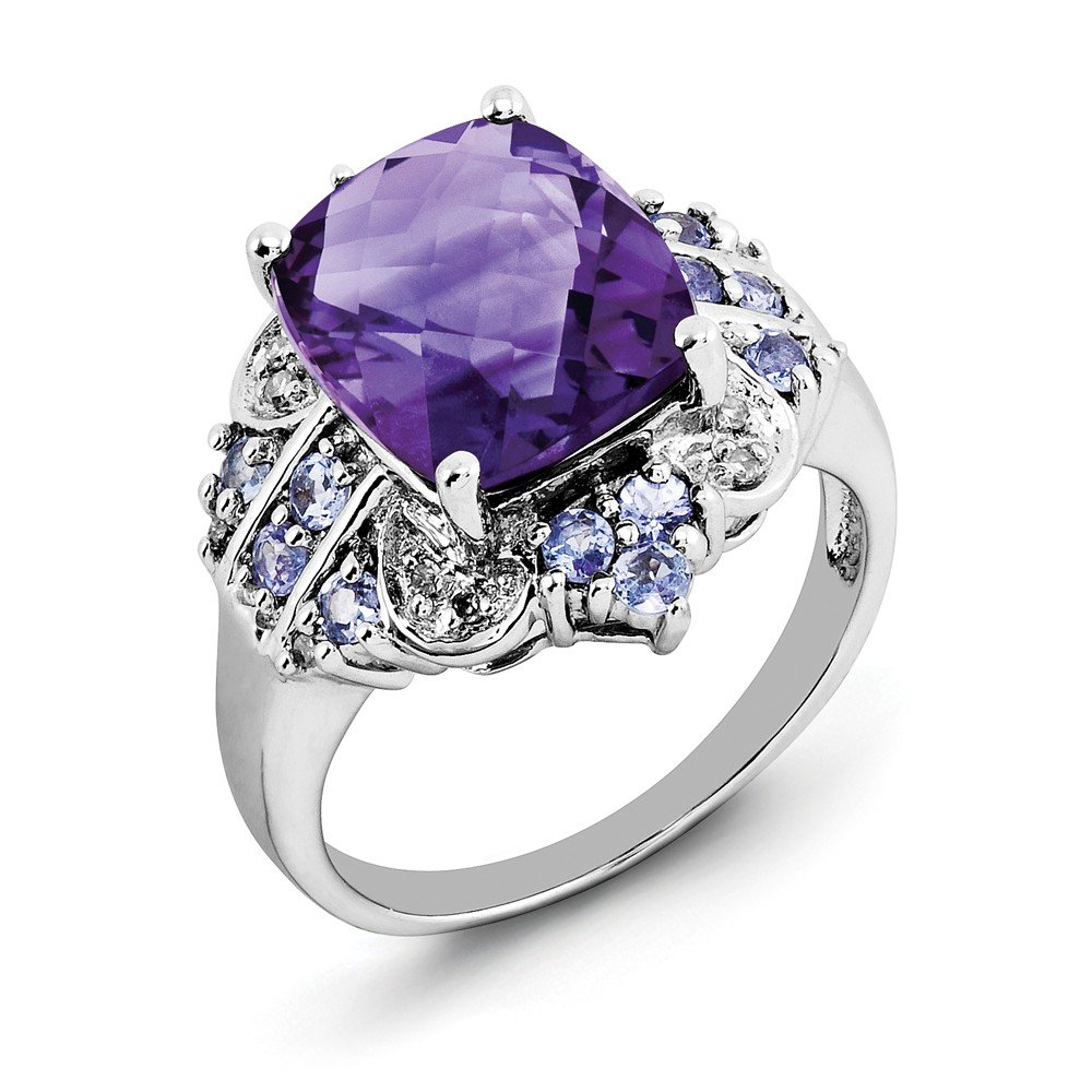 ICE CARATS 925 Sterling Silver Purple Amethyst Blue Tanzanite Diamond Band Ring Size 6.00 Stone Gemstone Fine Jewelry Gift Set For Women Heart by ICE CARATS (Image #3)