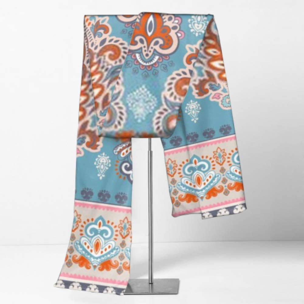 Cotton Scarves For Winter Mens And Women Winter Fashion Scarf Indian Floral Paisley Medallion Pattern Ethnic Long Plain Warm Soft Scarves For Men