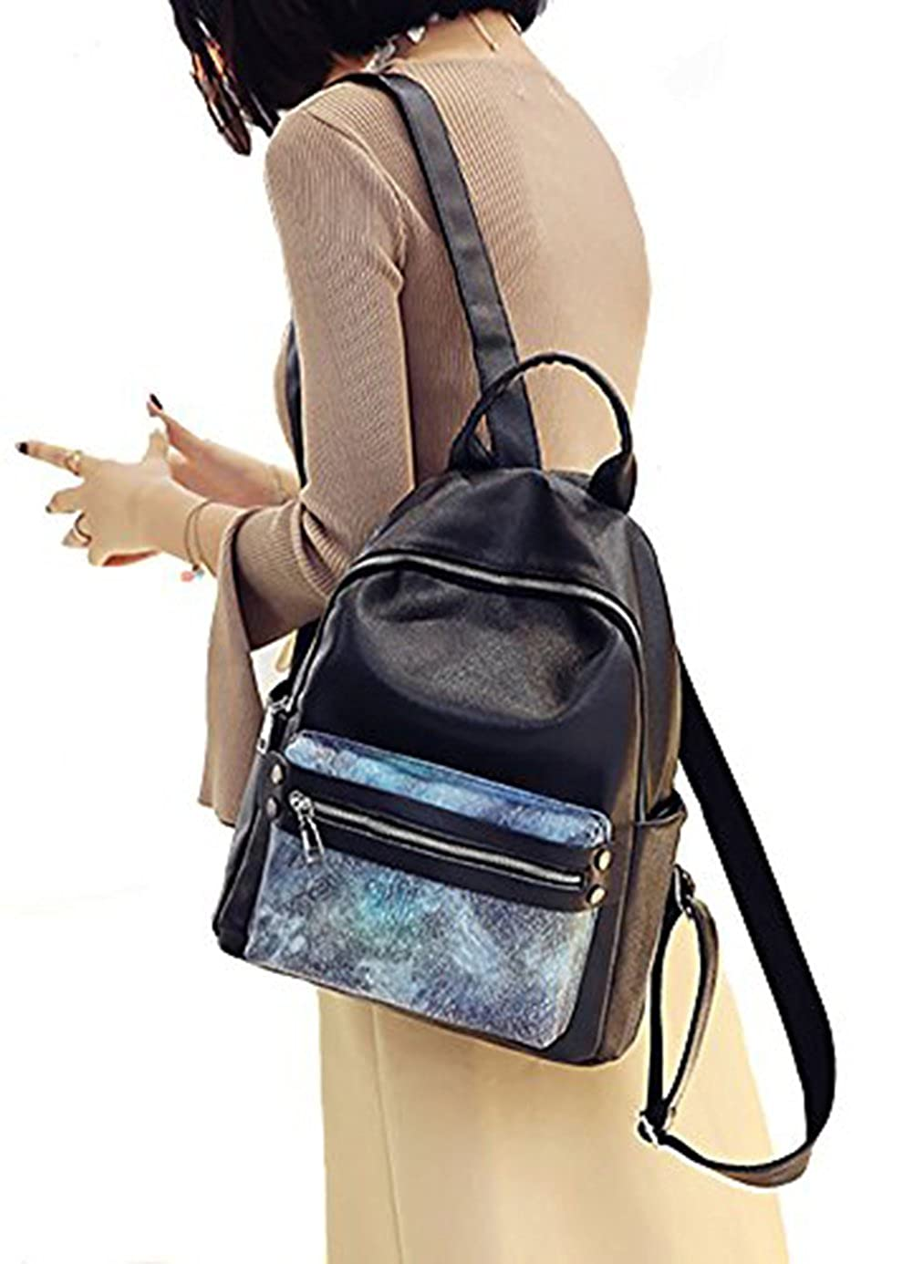 85551e9c9a Womens Fashion Colorful PU Leather Backpack Vintage Daypack School Bookbag