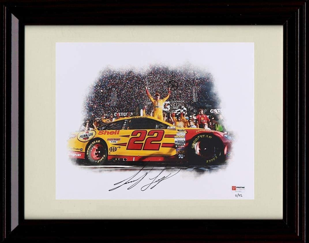 Amazon Com Framed Joey Logano Autograph Replica Print Daytona 500 Win Victory Lane Posters Prints